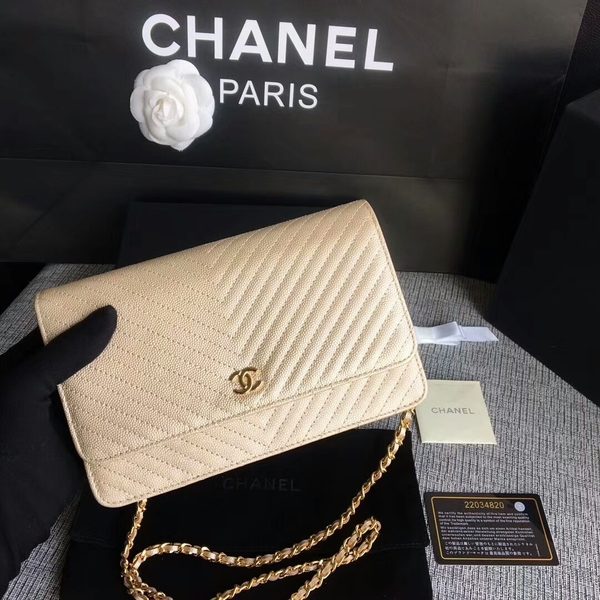 Chanel WOC Flap Shoulder Bag Gold Calfskin Leather A33814 Gold