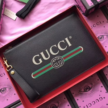 Gucci GG Marmont Calfskin Leather Clutch 466489 Black