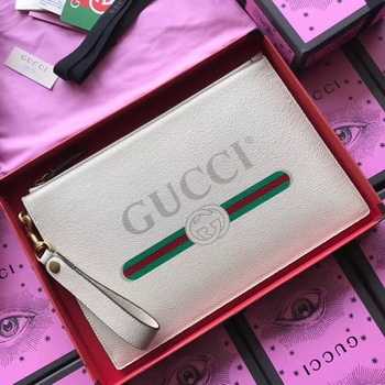 Gucci GG Marmont Calfskin Leather Clutch 466489 OffWhite