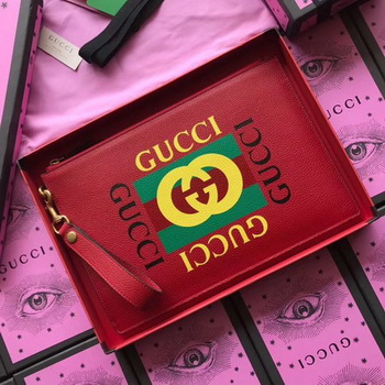Gucci GG Marmont Calfskin Leather Clutch 466489 Red