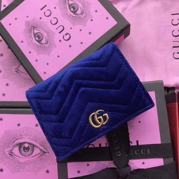 Gucci GG Marmont Card Case 466492 Blue