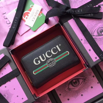 Gucci Print Leather Card Case 496319 Black