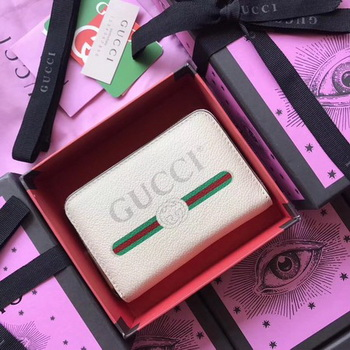 Gucci Print Leather Card Case 496319 White