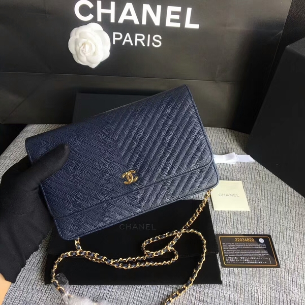 Chanel WOC Flap Shoulder Bag Dark Blue Calfskin Leather A33814 Gold