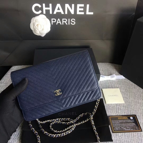 Chanel WOC Flap Shoulder Bag Dark Blue Calfskin Leather A33814 Silver