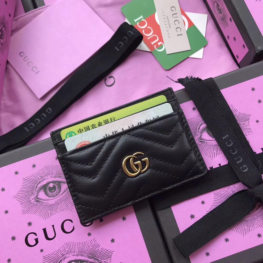 Gucci Leather Card Case 499360 Black