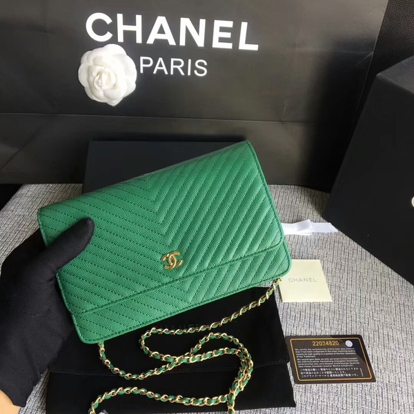 Chanel WOC Flap Shoulder Bag Green Calfskin Leather A33814 Gold