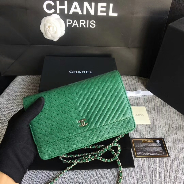 Chanel WOC Flap Shoulder Bag Green Calfskin Leather A33814 Silver