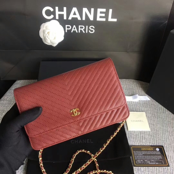 Chanel WOC Flap Shoulder Bag Dark Red Calfskin Leather A33814 Gold
