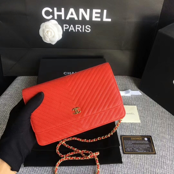 Chanel WOC Flap Shoulder Bag Red Calfskin Leather A33814 Gold