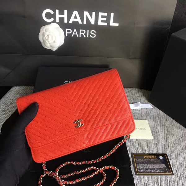 Chanel WOC Flap Shoulder Bag Red Calfskin Leather A33814 Silver