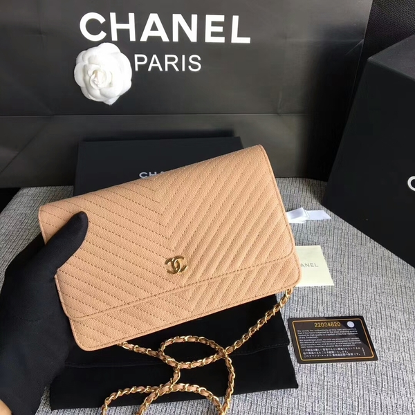 Chanel WOC Flap Shoulder Bag Camel Calfskin Leather A33814 Gold
