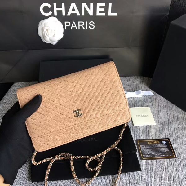 Chanel WOC Flap Shoulder Bag Camel Calfskin Leather A33814 Silver