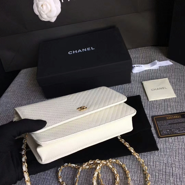 Chanel WOC Flap Shoulder Bag Offwhite Calfskin Leather A33814 Gold