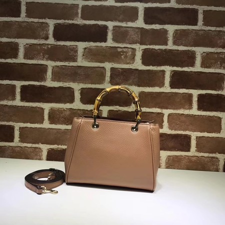 Gucci Bamboo Shopper mini Leather Top Handle Bag 368823 Apricot