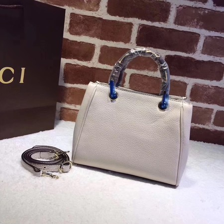 Gucci Bamboo Shopper mini Leather Top Handle Bag 368823 OffWhite