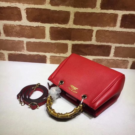 Gucci Bamboo Shopper mini Leather Top Handle Bag 368823 Red