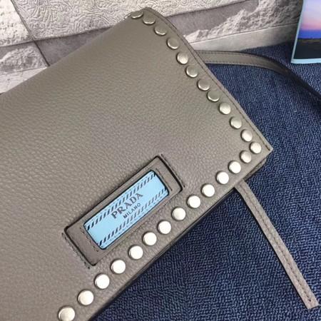 Prada Etiquette Bag Calfskin Leather 1BD082 Grey