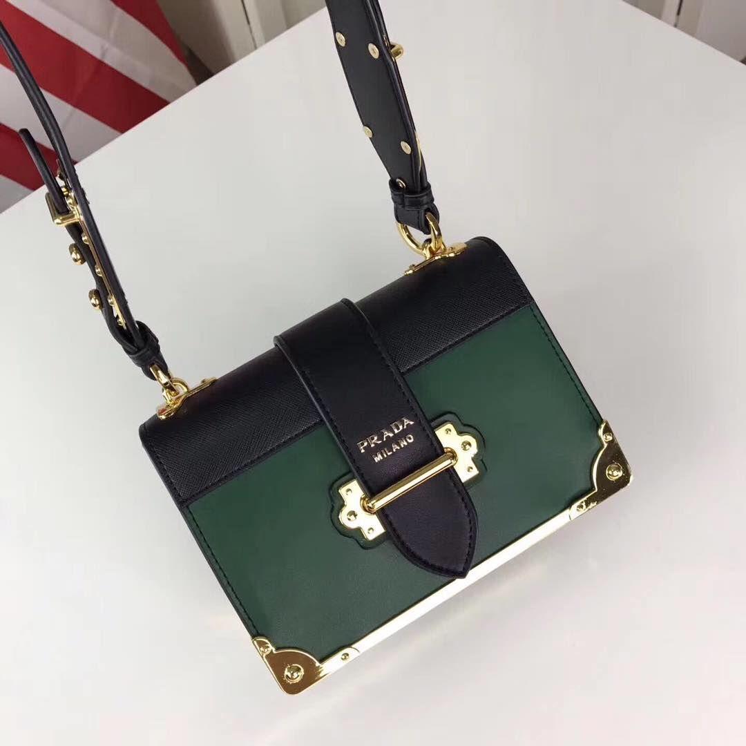 PRADA Shoulder Flap Bag Original Leather P2312 Green