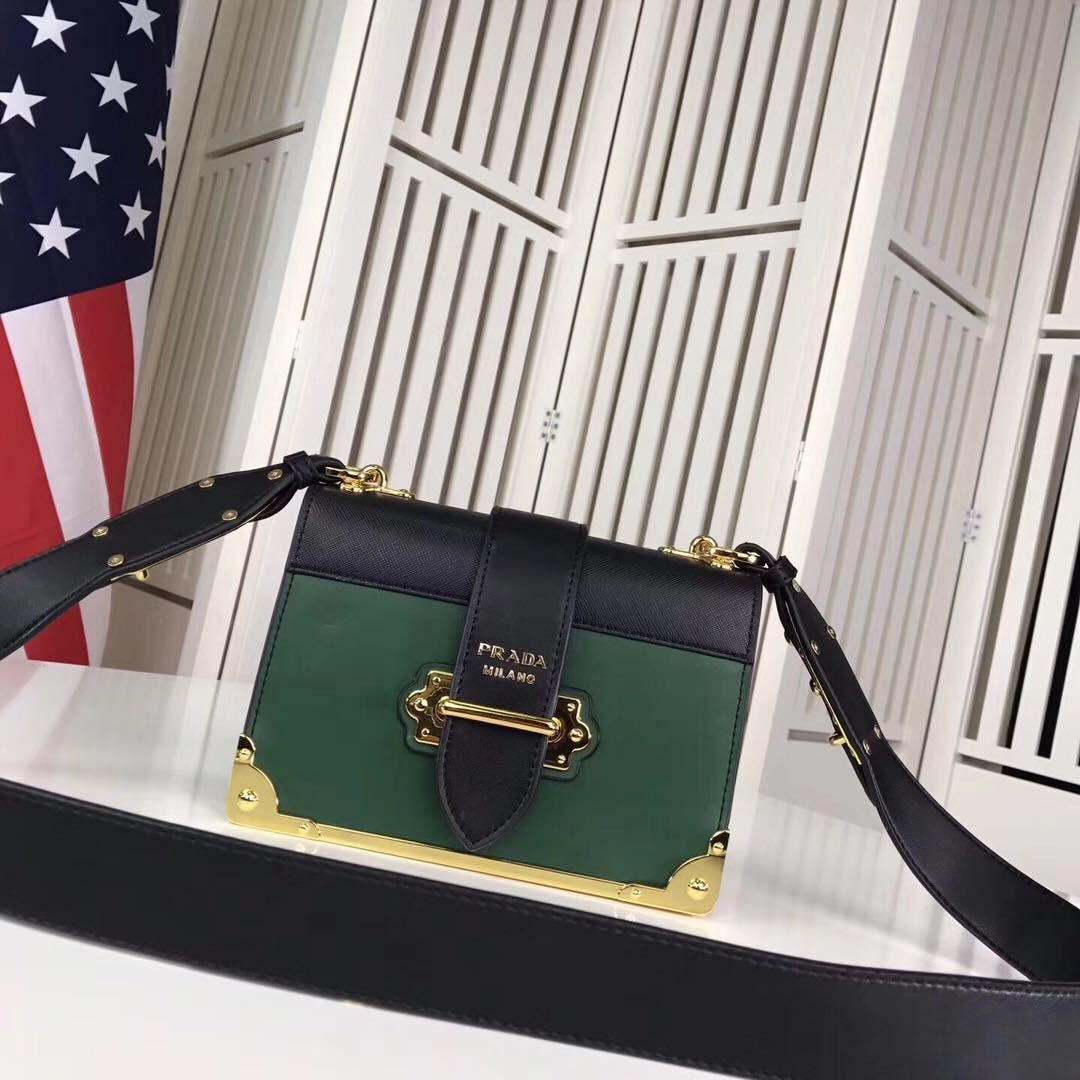 PRADA Shoulder Flap Bag Original Leather P2312 Green