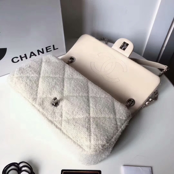 Chanel Original Suede Leather Flap Shoulder Bag A8128 White