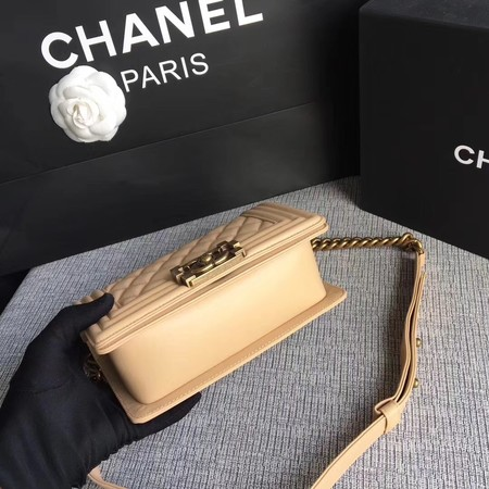 Boy Chanel Flap Shoulder Bag Sheepskin Leather A67085 Apricot
