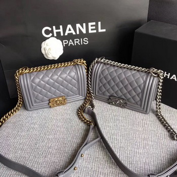 Boy Chanel Flap Shoulder Bag Sheepskin Leather A67085 Grey