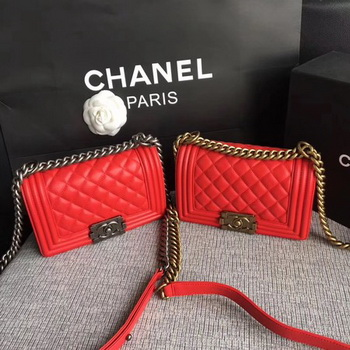Boy Chanel Flap Shoulder Bag Sheepskin Leather A67085 Red