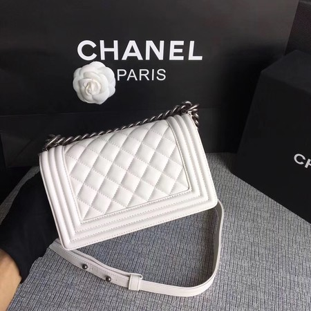 Boy Chanel Flap Shoulder Bag Sheepskin Leather A67085 White
