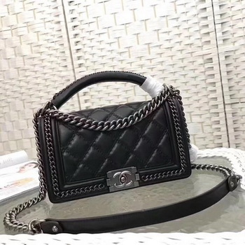 Boy Chanel Top Flap Bag Original Chevron Sheepskin A67085 Black