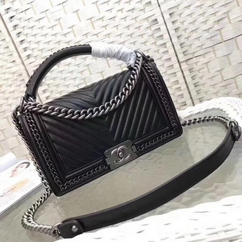 Boy Chanel Top Flap Bag Original Chevron Sheepskin A67088 Black