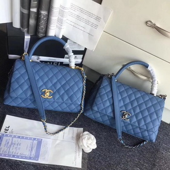 Chanel Classic Top Handle Bag Original Cannage Pattern A96901 Blue