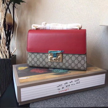 Gucci Padlock Medium GG Shoulder Bag 409486A Red