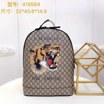 Gucci Angry Cat Print GG Supreme Backpack 419584 Brown