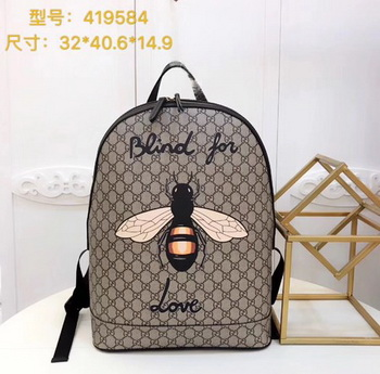 Gucci Bee Print GG Supreme Backpack 419584 Brown