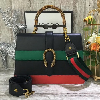 Gucci Dionysus Leather Top Handle Bag 421999 Black&Green&Red
