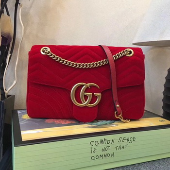 Gucci GG Marmont Medium Velvet Shoulder Bag 443496 Red