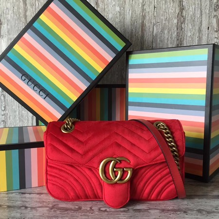 Gucci GG Marmont Small Chevron Shoulder Bag 443497 Red