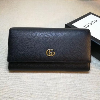 Gucci Leather Continental Wallet 456116 Black
