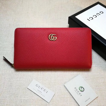 Gucci Leather Zip Around Wallet 456117 Red