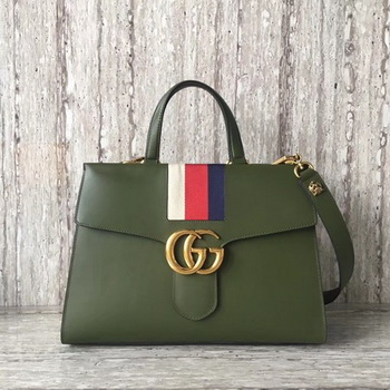 Gucci GG Marmont Top Handle Bag 476470 Green