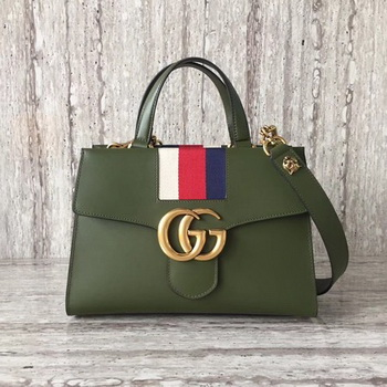 Gucci GG Marmont Small Top Handle Bag 476472 Green
