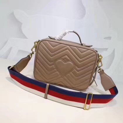 Gucci GG Marmont Small Shoulder Bag 498100 Apricot