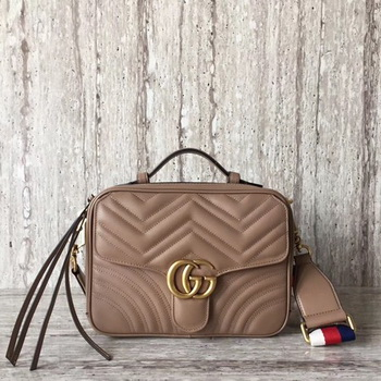 Gucci GG Marmont Small Shoulder Bag 498100 Camel