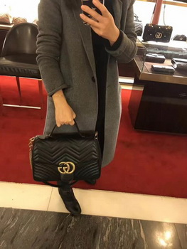 Gucci GG Marmont Small Top Handle Bag 498110 Black
