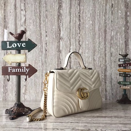 Gucci GG Marmont Small Top Handle Bag 498110 White