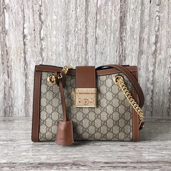 Gucci Padlock Small GG Shoulder Bag 498156 Brown