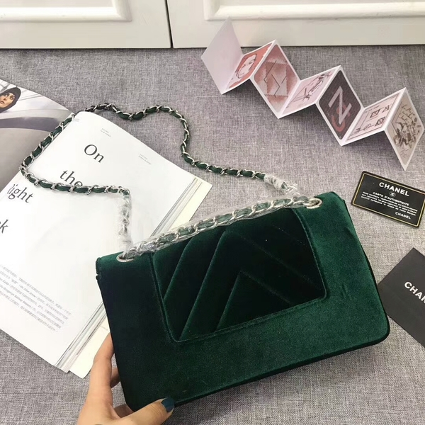 Chanel LeBoy 2017 Velvet Leather 67085 Green