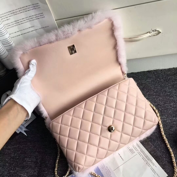 Chanel Original Leather Cony Hair Shoulder Bag CH5531 Pink