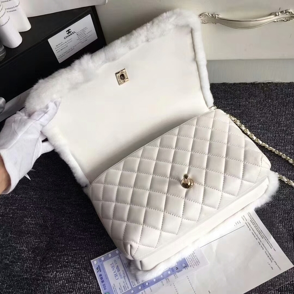 Chanel Original Leather Cony Hair Shoulder Bag CH5531 White